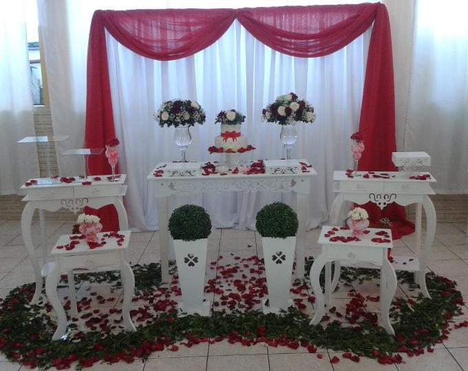 decoração de casamento Vermelho e branco doces