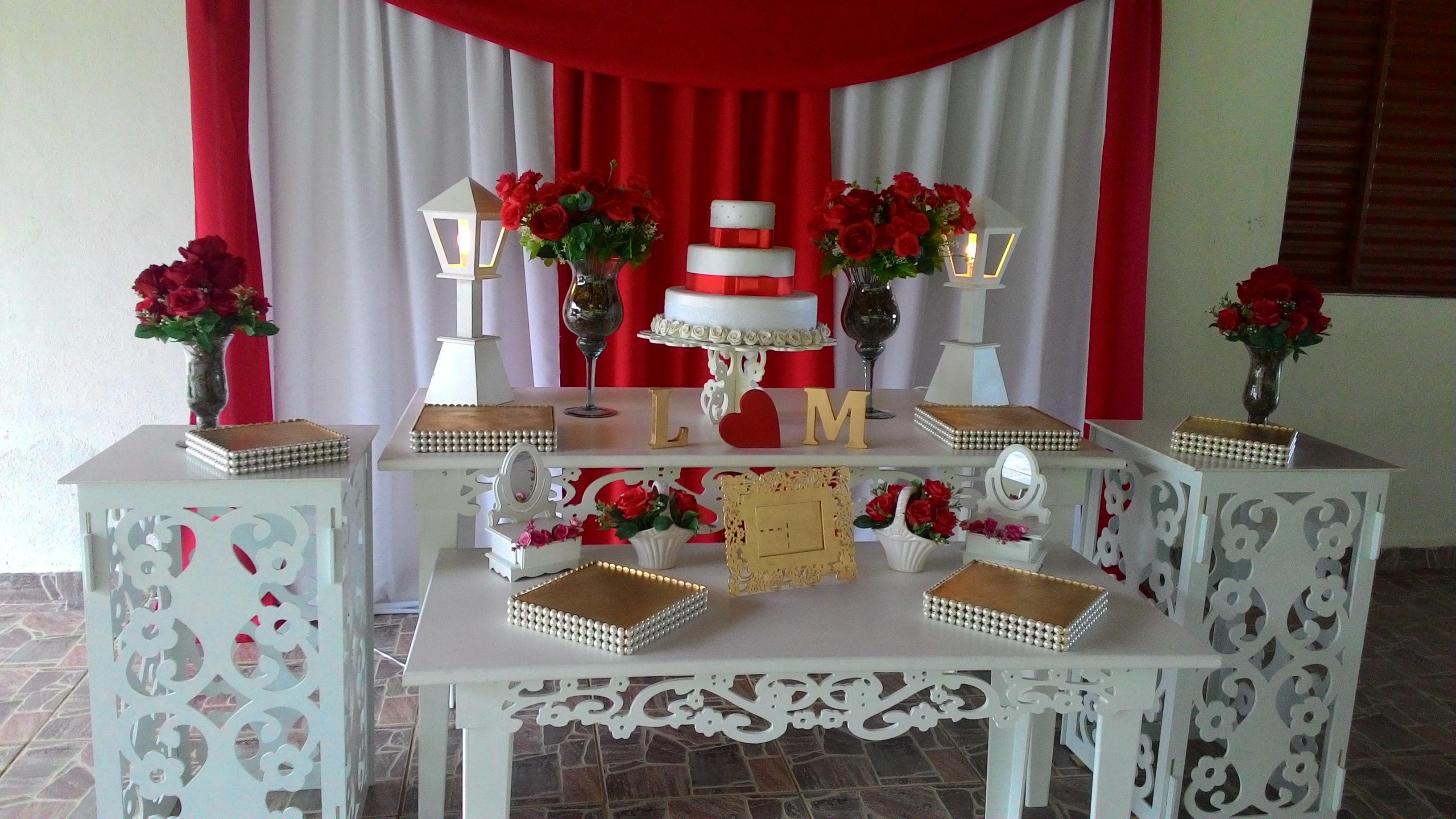 Decoraç u00e3o de casamento vermelho e branco Veja dicas e fotos! # Decoração De Mesa De Casamento Barato