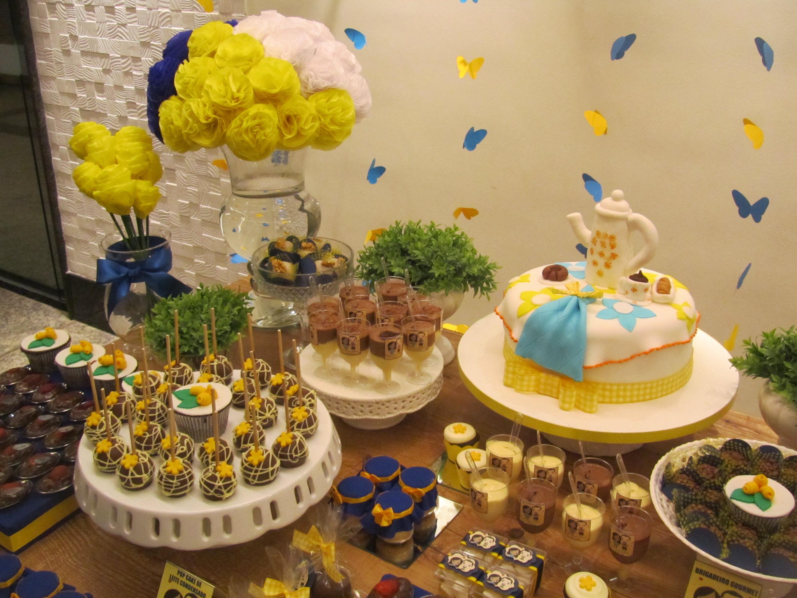 decoração para chá de cozinha amarela