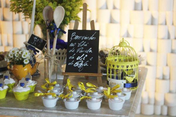 decoração para chá de cozinha amarelo