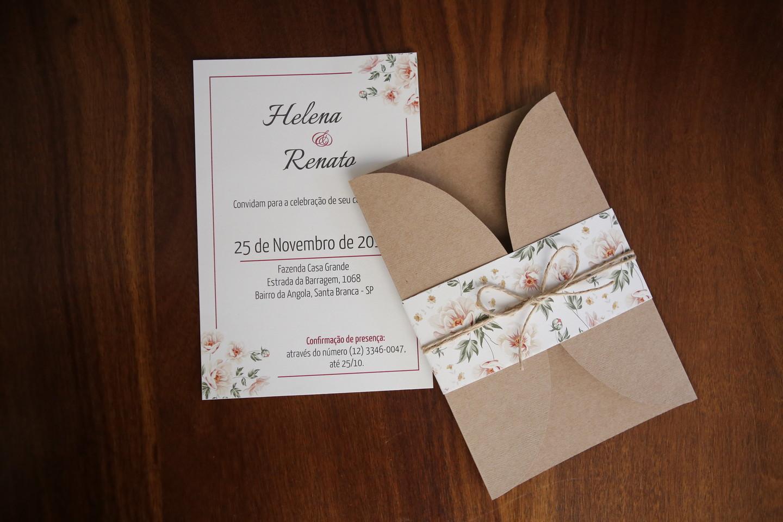 convite casamento rústico lindo