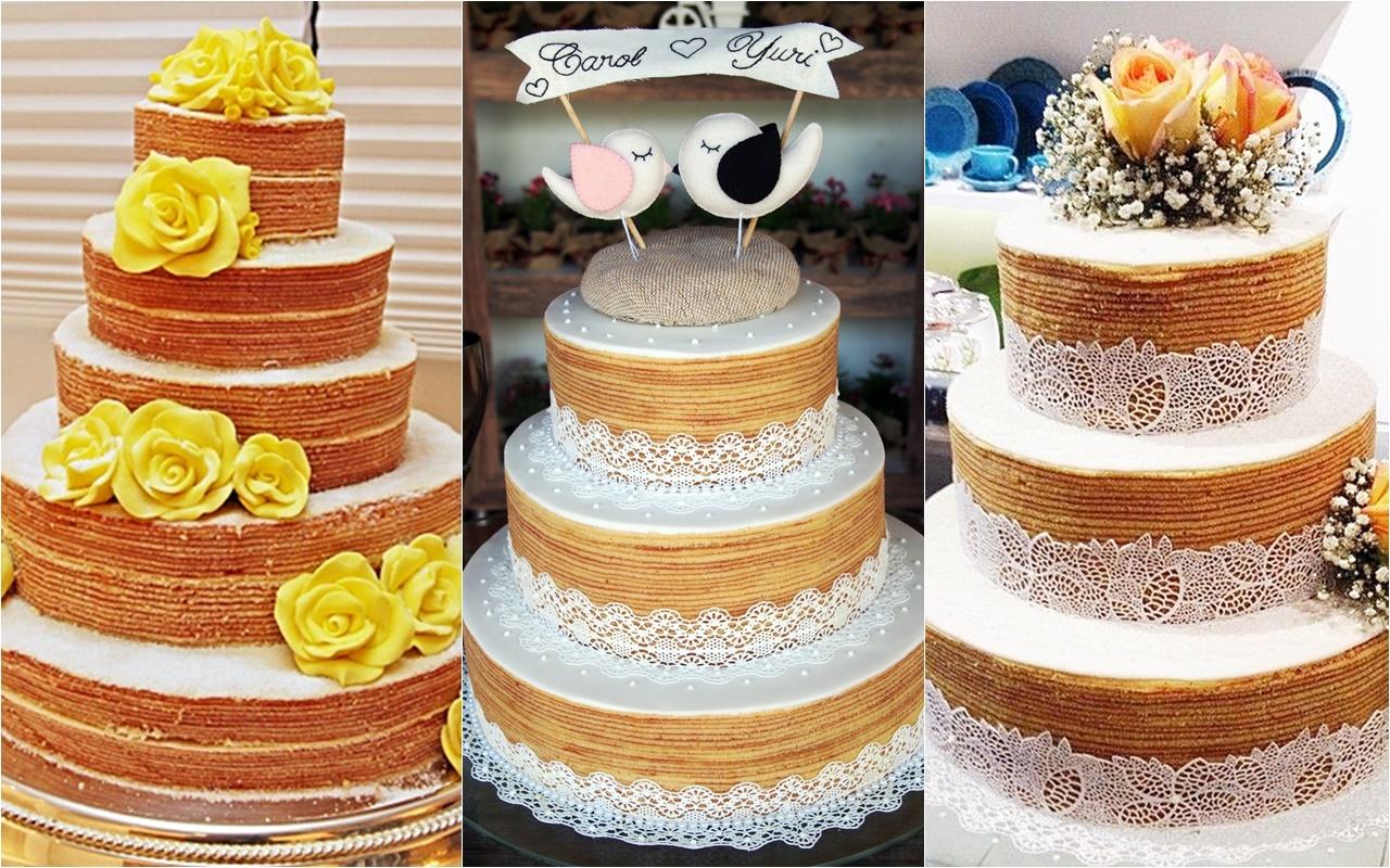 modelo de Bolo de casamento naked cake