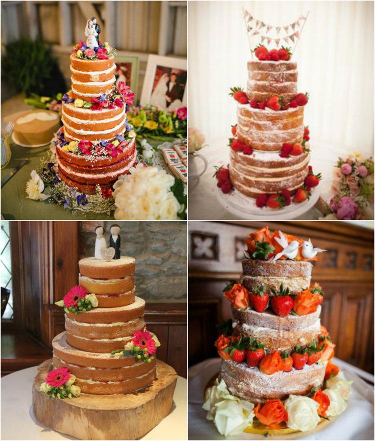 4 exemplos de Bolo de casamento naked cake