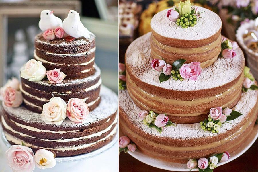 Bolo de casamento naked cake com flores