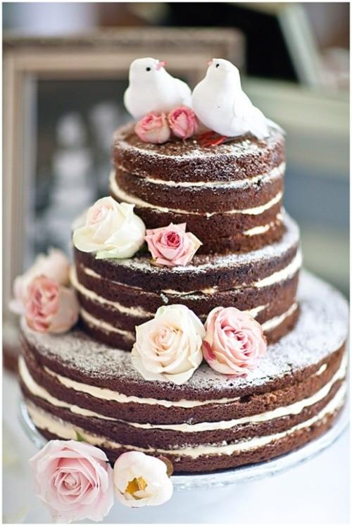 Bolo de casamento naked cake passáro