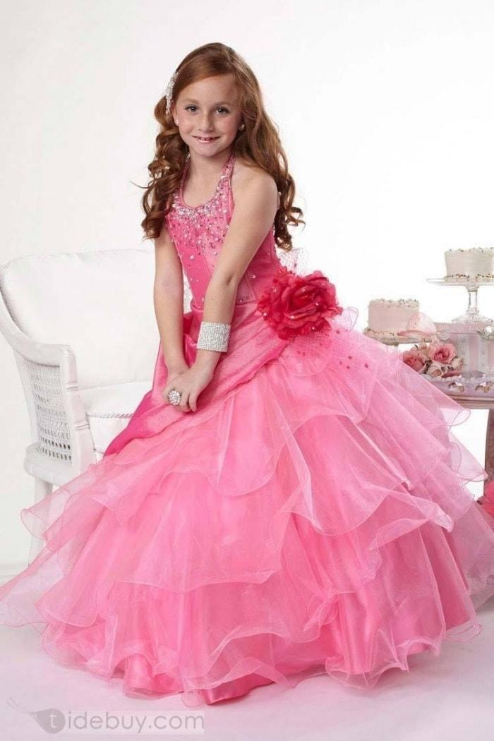 Vestido para dama de honra rosa