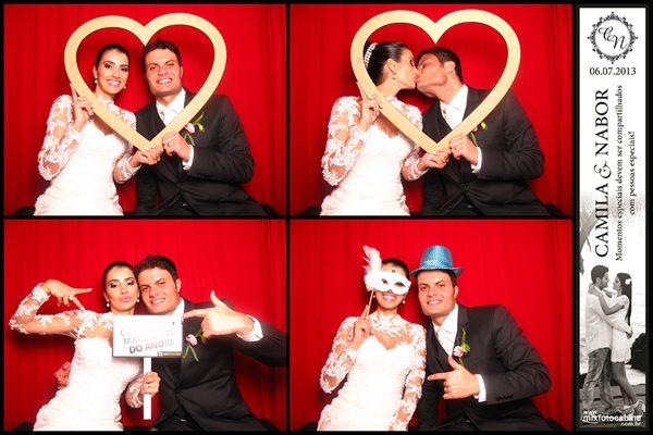 Cabine de fotos na festa de casamento