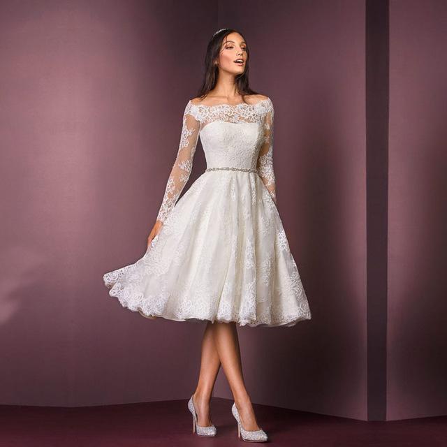vestido de noiva curto com mangas