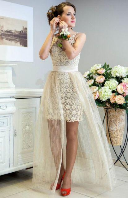 vestido de noiva curto renda