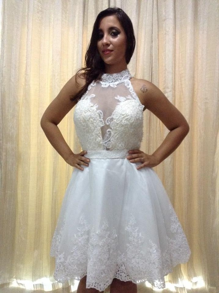 vestido de noiva curto com decote