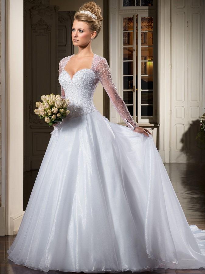 Vestido de noiva princesa com manga