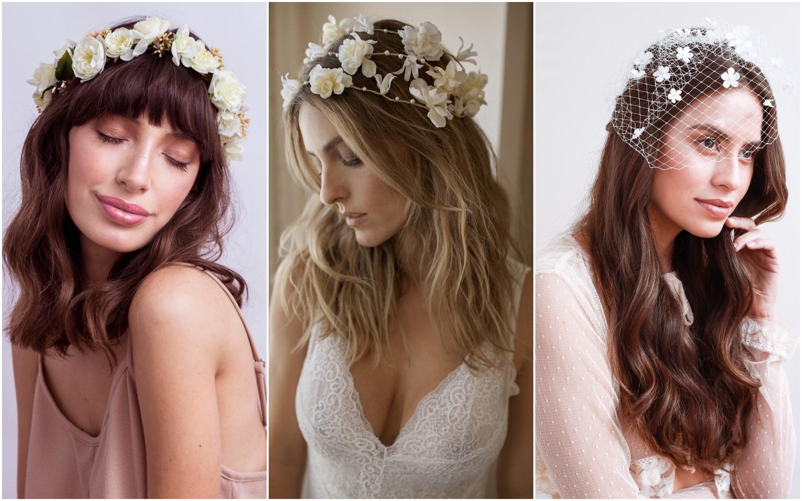 penteados para noivas com coroa de flores
