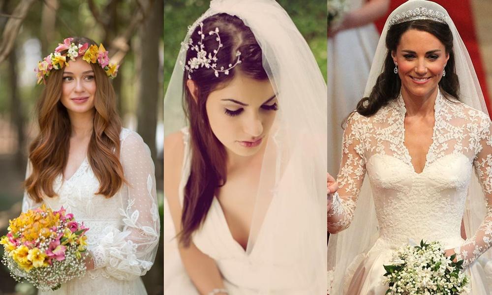 exemplos de penteados para noivas com cabelos médios