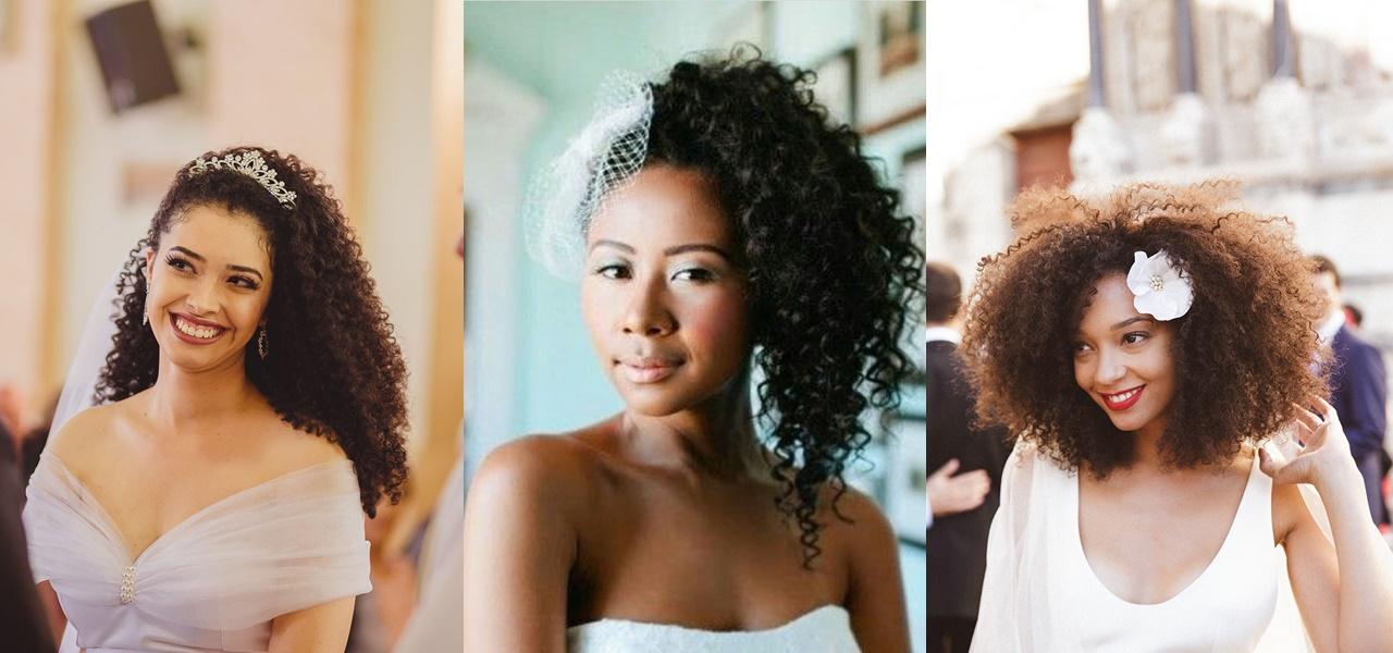 penteados para noivas com cabelos crespos