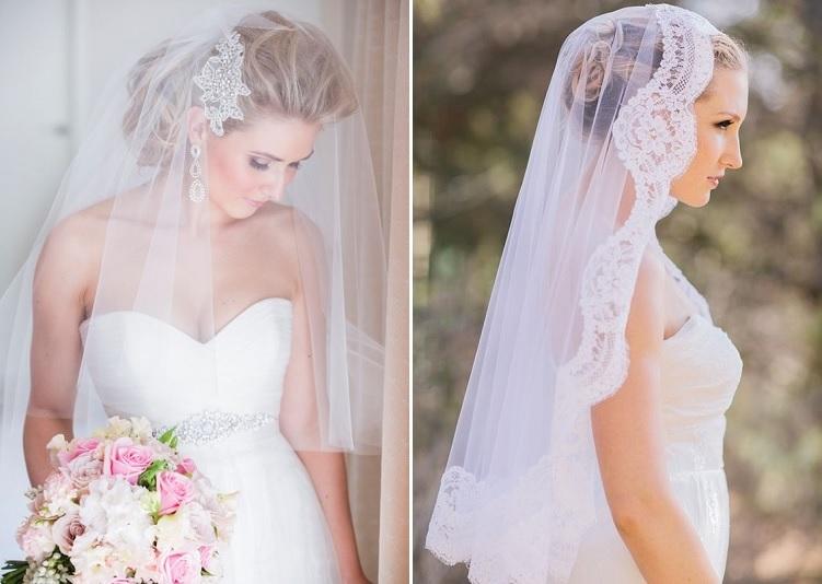Véu de noiva curto com renda