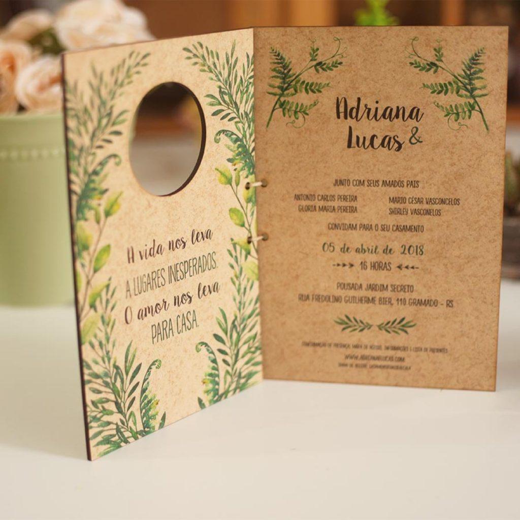 convite de casamento madeira
