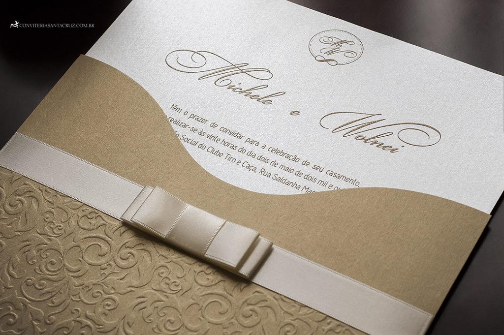 convite de casamento alto relevo