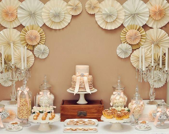 decoração de noivado papel
