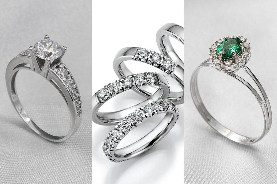 modelos de anel de noivado de prata