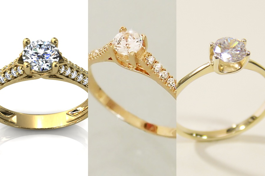 anel de noivado de ouro