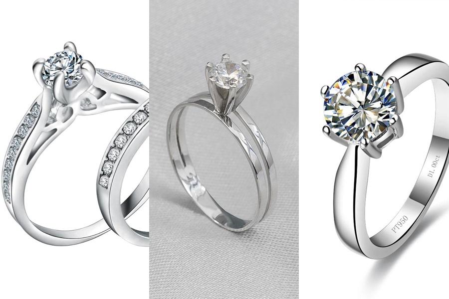 anel de noivado de prata