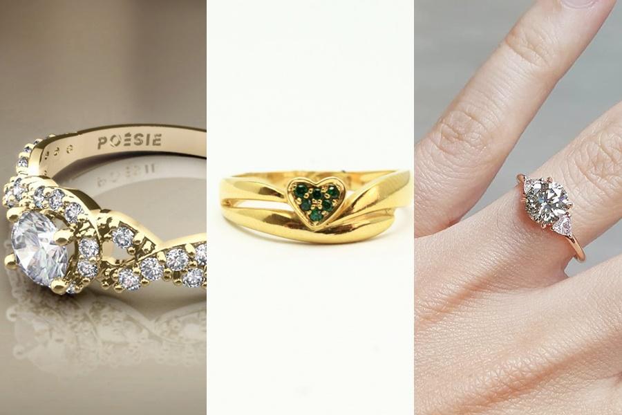 três modelos de anel de noivado de ouro