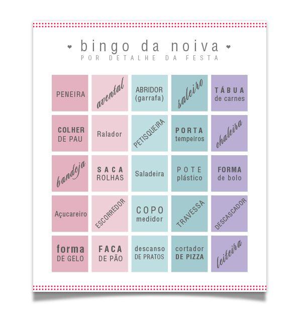 brincadeira para chá de panela bingo