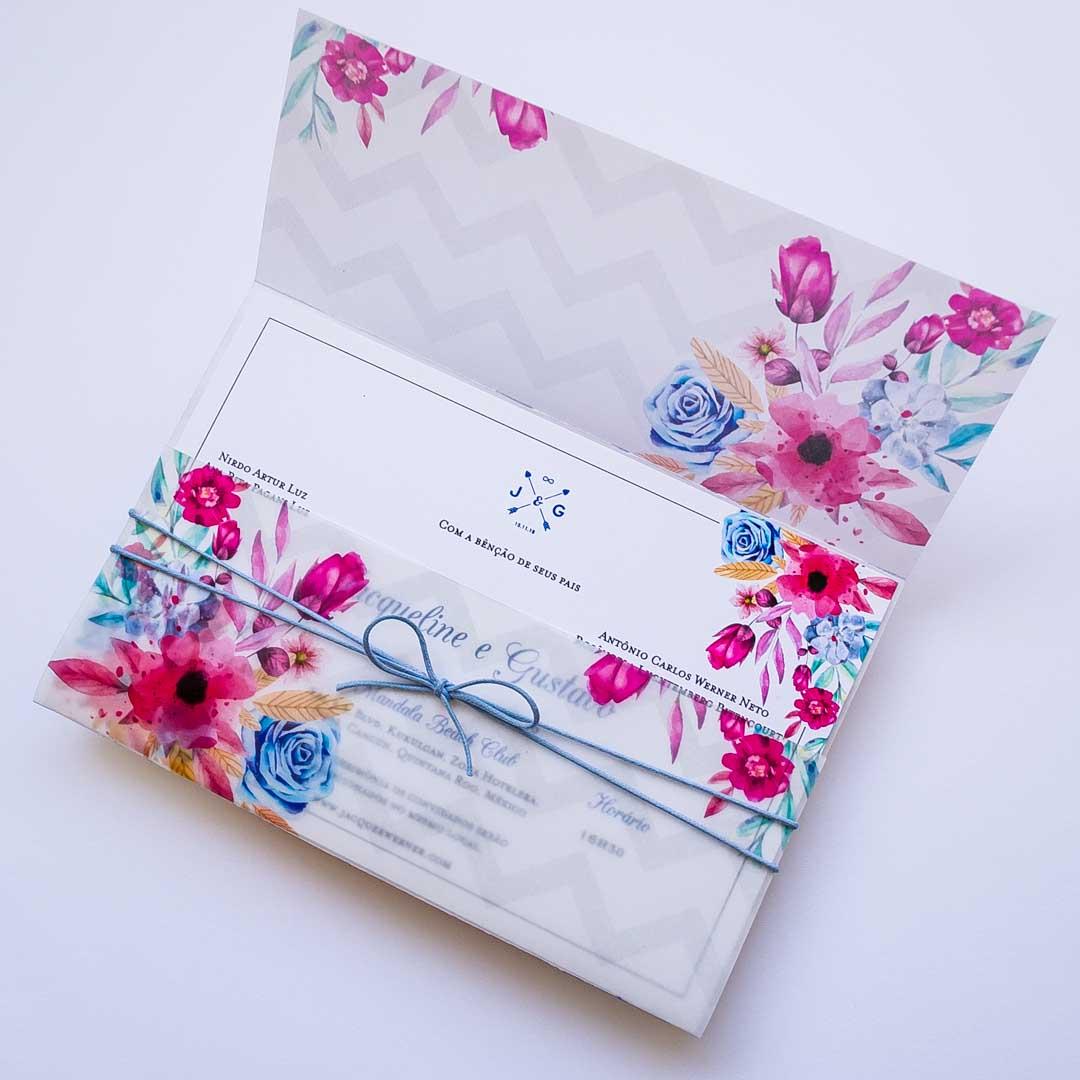 convite de casamento no campo florido