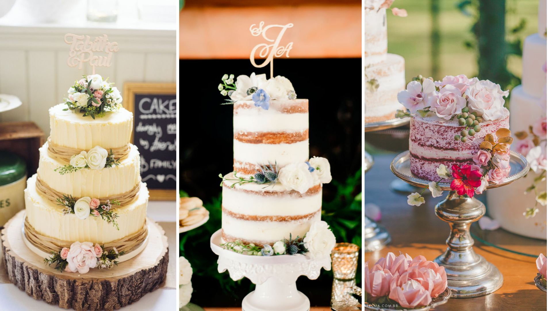 bolos para casamento no campo