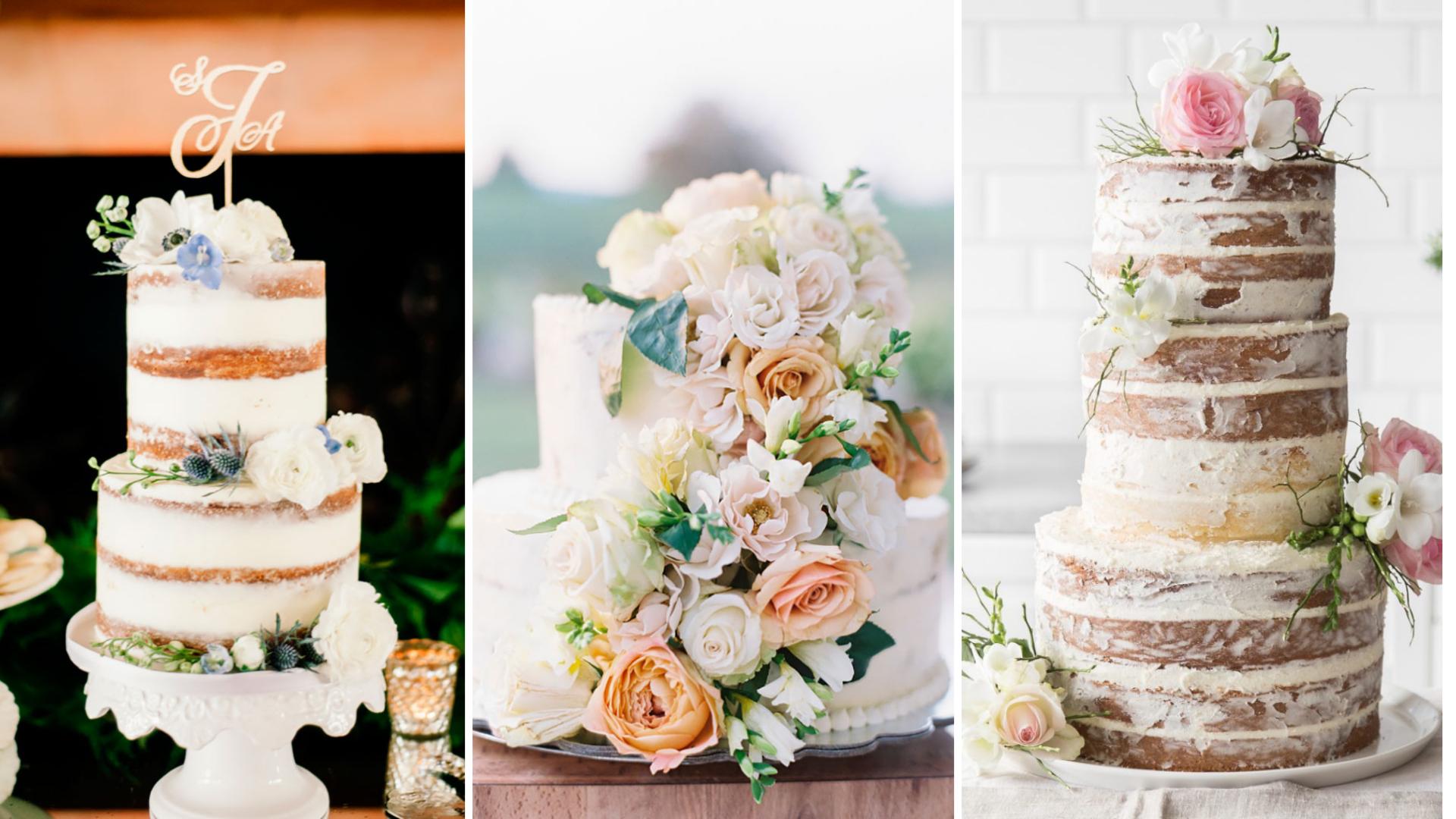 três estilos de bolo para casamento no campo de dia