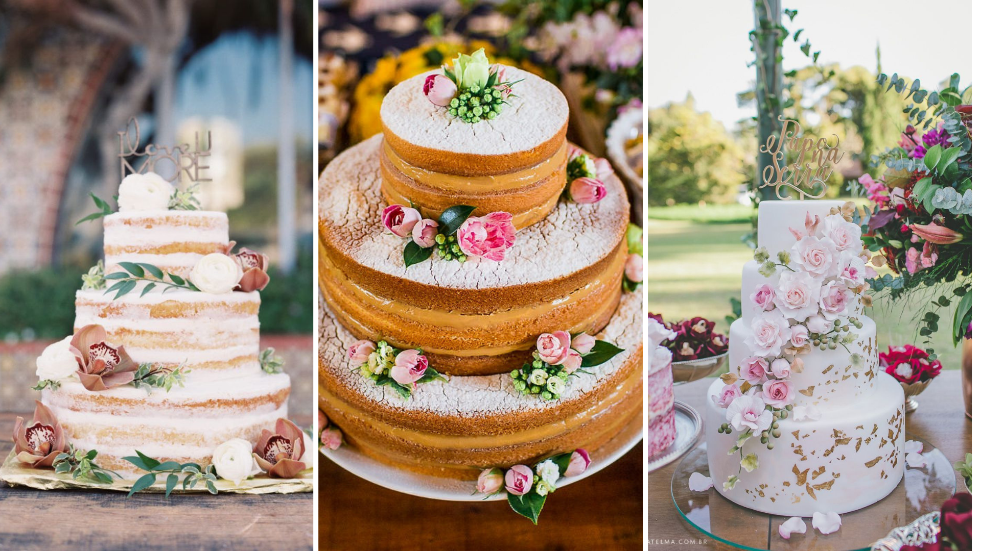 bolo para casamento no campo
