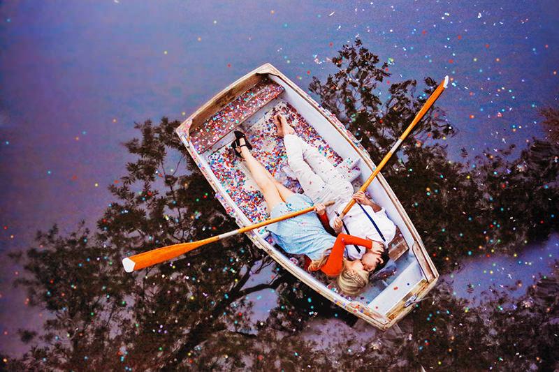 foto criativa no barco
