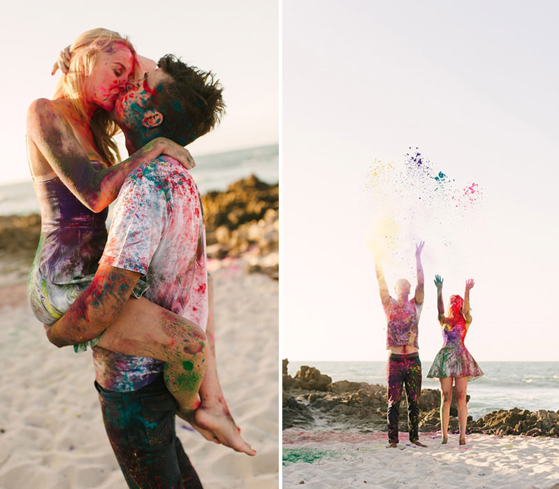 foto para pré-wedding casal se sujando com tintas coloridas