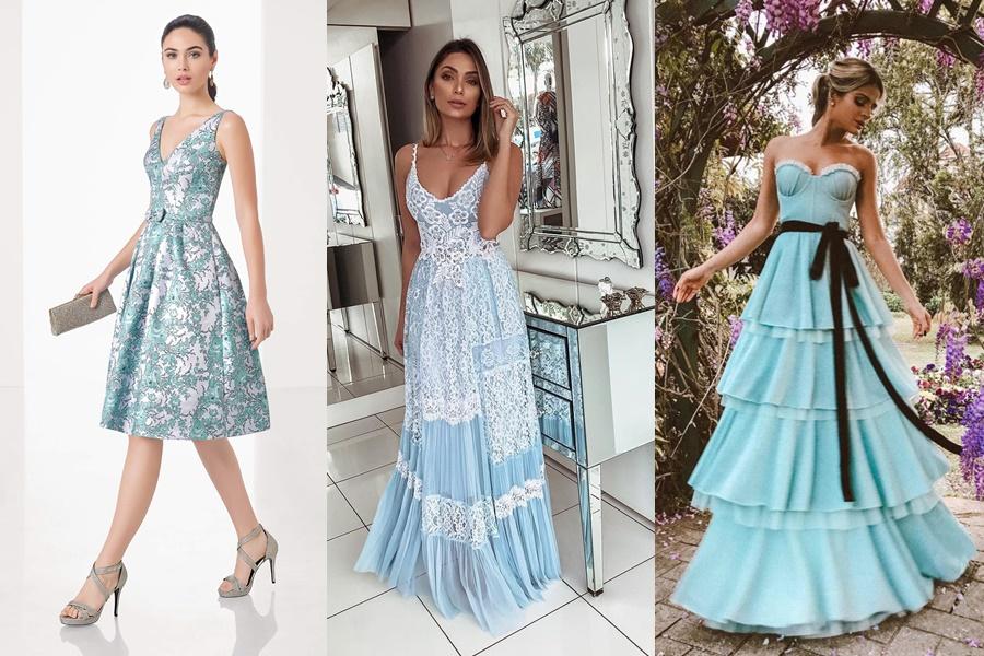 vestidos na cor azul para festa de noivado