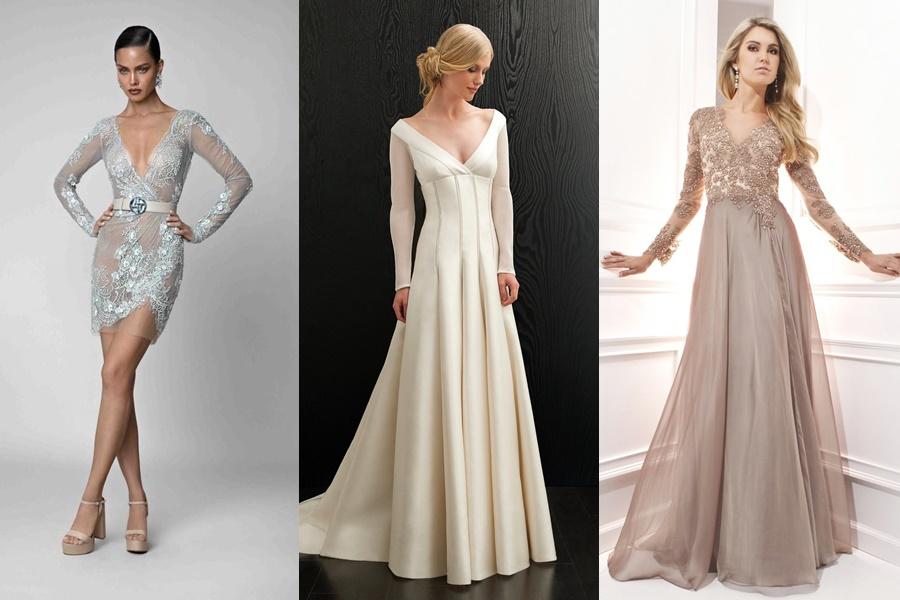 modelos com vestido de noivado manga longa