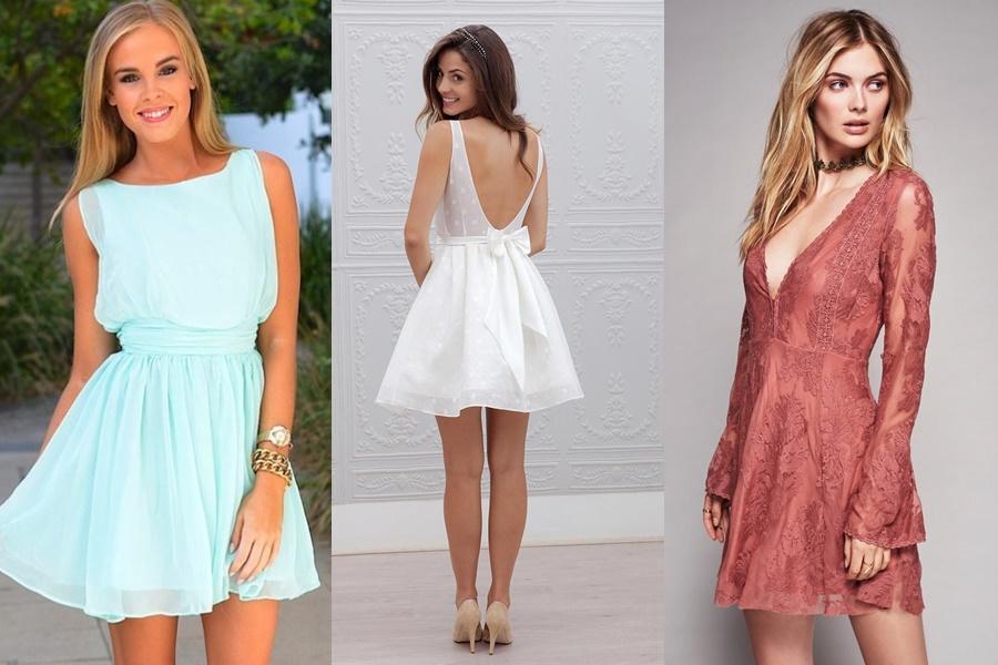 vestido de noivado simples e curto
