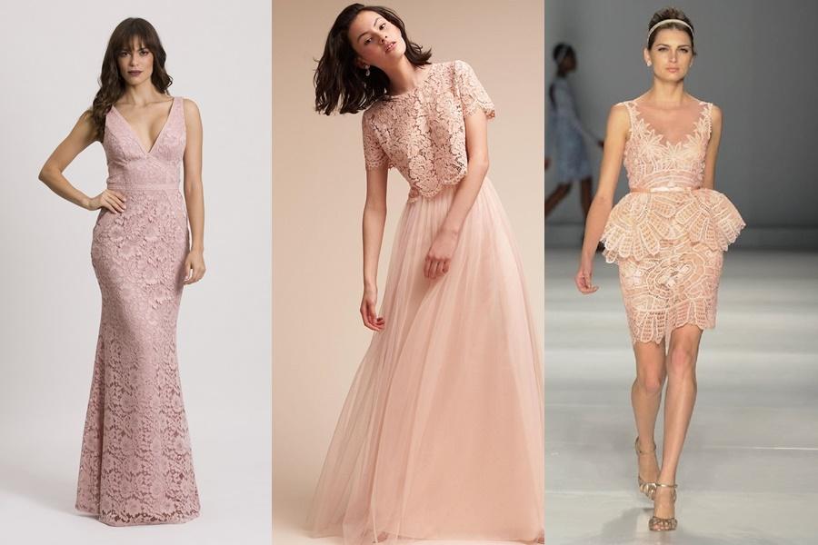 exemplos de vestidos de noivado rosê
