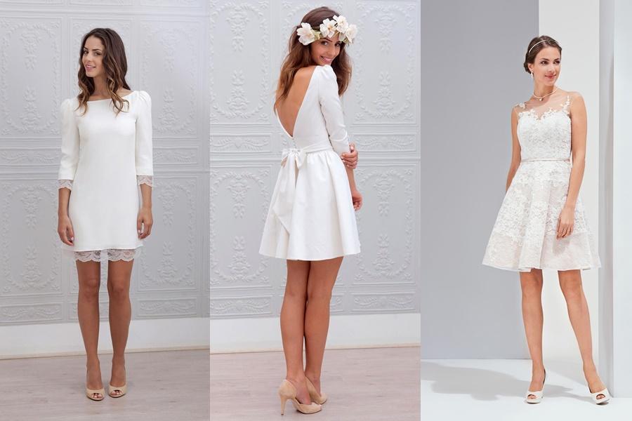 vestido de noivado simples e curtos na cor branca