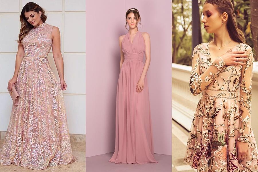 modelos de vestidos de noivado na cor rosê