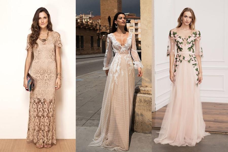 vestido longo para noite de noivado