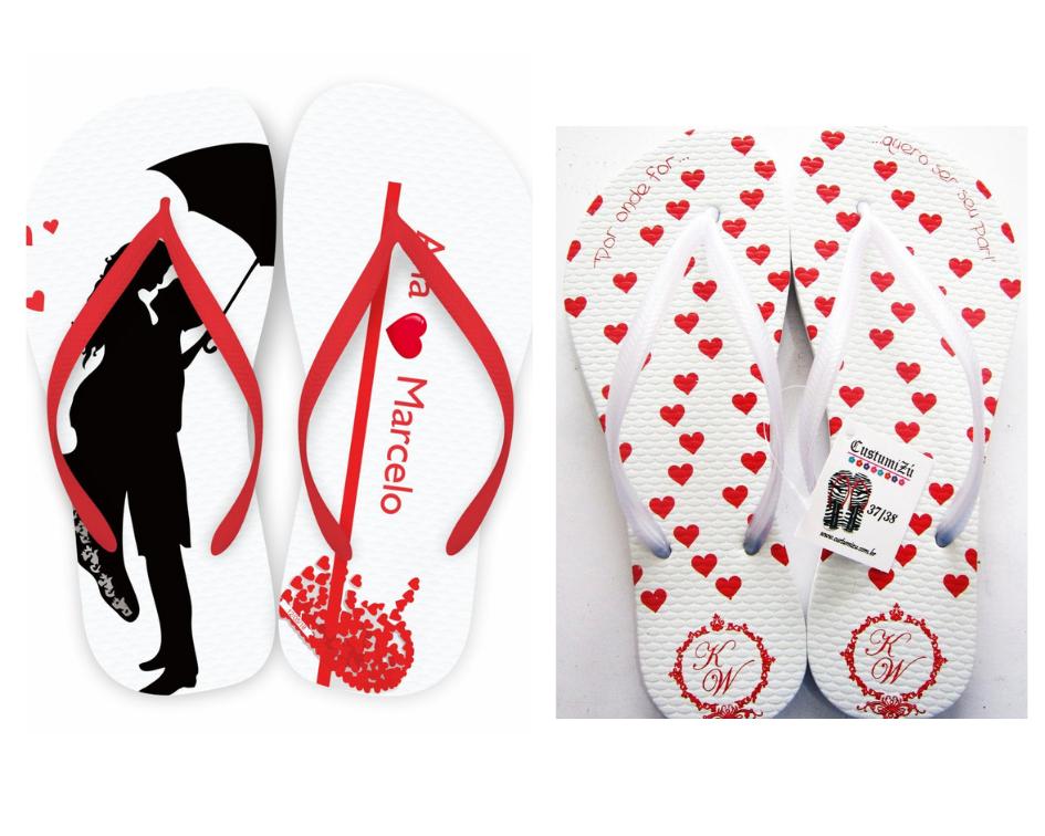 chinelo personalizado branco e vermelho