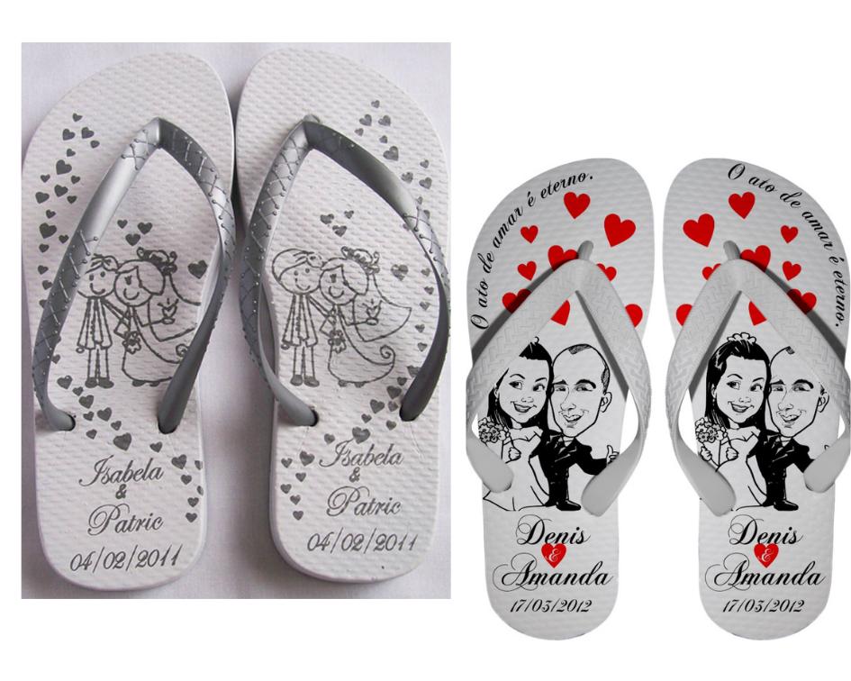 chinelo personalizado para casamento branco com desenho e o nome dos noivos