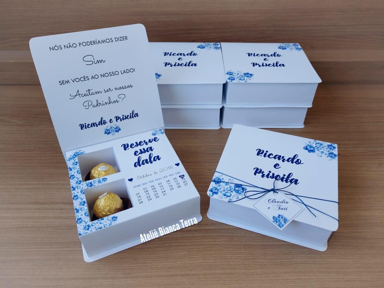 caixa convite azul