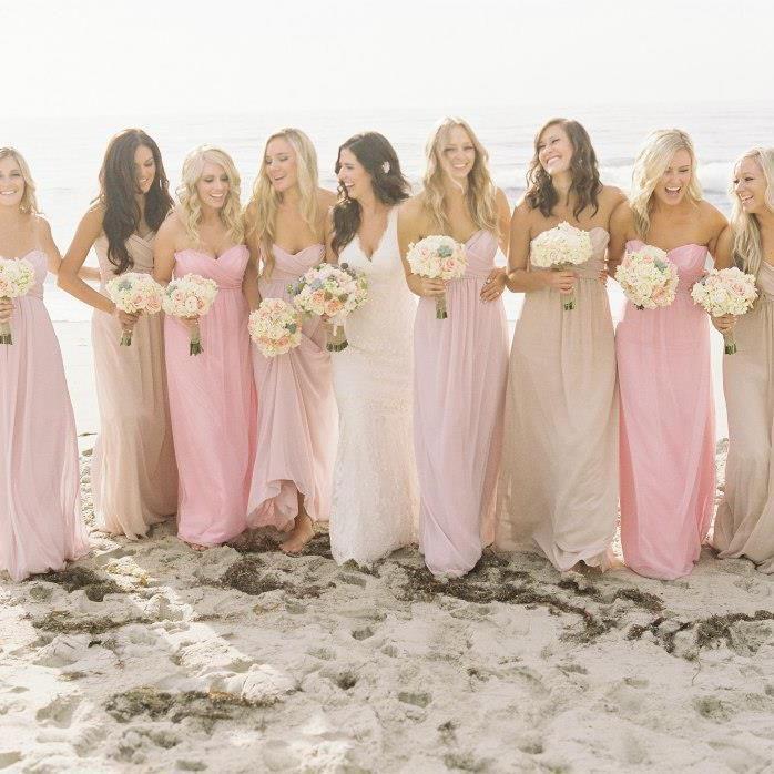 madrinhas com vestido rosa claro