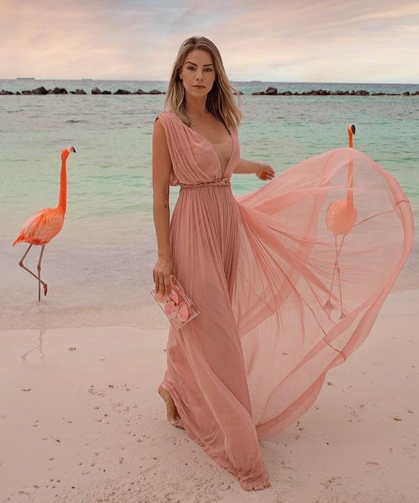 vestido rose para convidada
