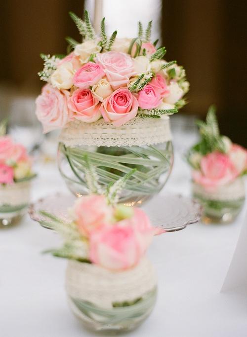 mini-rosas como centro de mesa